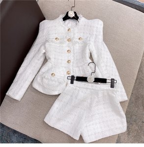 Fashion Personality Top Quality Original Design Women's Jacket Two-piece Bright silk Tweed Coat Fringe Yarn with Shorts