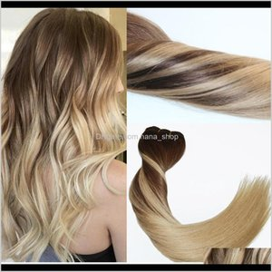 Wefts 120Gram Virgin Remy Balayage Clip In Ombre Medium Brown To Ash Blonde Highlights Real Human Hair Extensions Iptb3 Aongz