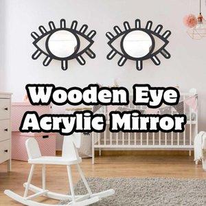 Mirrors Eye Shape Decorative Mirror Wooden Innovative Art Decoration Round Makeup Dressing Bathroom Wall Hanging Crafts
