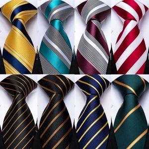 Mens Wedding Tie Gold Black Striped Silk Neck Ties For Men Hanky Cufflinks Set Business Party Gravatas
