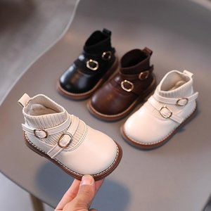 First Walkers Little Princess Boots Autumn Solid Baby Girls Casual Shoes Thick Children Dress Kids Fashion Brown Boys Walker