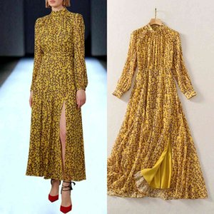2021 spring European and American stars with the same high-quality retro floral slit dress