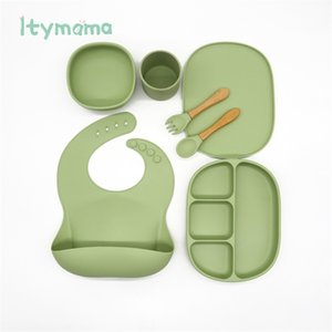 6pcs set Baby Feeding Silicone Tableware Waterproof Bib Solid Color Dinner Plate BPA Free Sucker Bowl And Spoon For Children 210913