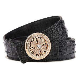 Leather belt men's luxury brand designer high quality men's fashion belt rhinestone rotating belt