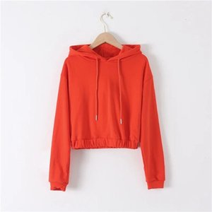 Women Fashion Solid Color Elastic Cropped Hoodies Sweatshirts Vintage Long Sleeve Pullovers Female Chic Tops 210531