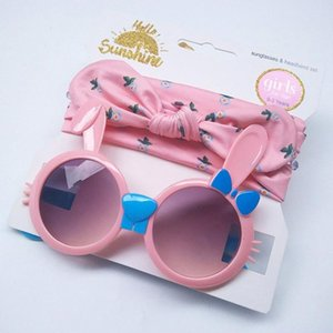 Cute Cartoon Baby Headband Sunglasses Set For Travel Kids Children Bowknot Hair Band Girls Boys Girl Accessories