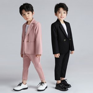 Shiping Boys Suits For Weddings Kids Double Breasted Blazer Pants 2Pcs Outfit Enfant Mariage Garcon Children Tuxedo CostumeH114