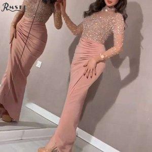 RMSFE 2021 Yeni Kat Uzunluk Abiye Kadınlar Zarif Moda Paillett Kadın Resmi Seksi Lady Rahat Drs