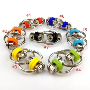 POP it Key Ring Fidget Spinner Gyro Hand Metal Toy Finger Keyring Chain HandSpinner Toys For Reduce Decompression Anxiety 7 Colors