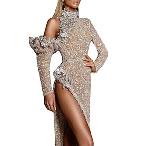 Casual Dresses Women Turtle Neck Luxury High Slit Evening Maxi Pageant Ball Gowns Fashion Bodysuit Exquisite Long Sleeved Dress