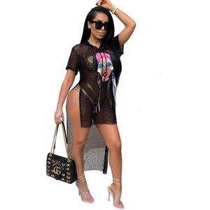 A8235 Casual women's Dresses top selling fashion figure mesh high split Hoodie