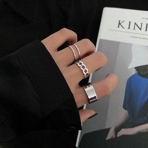 Personality Ring Dark Silver Luminous Band Ring Ladies Friend Gift Vintage Fashion Jewelry 2021 Three Piece Set