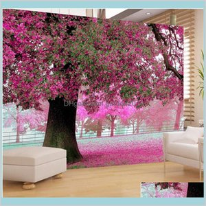 Wallpapers Home Décor & Garden Wholesale- Po Wall Paper For Living Room Tv Setting Sofa Warm Romantic Purple Cherry Blossoms Tree Mura