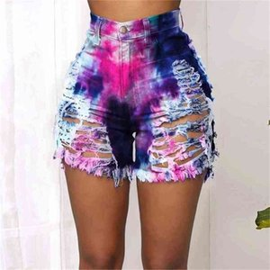 2021 Tie Dye Printed Summer Spring Women's Shorts Hole Denim High Waist Sexy Ladies Casual Rainbow Camouflage Jeans Clothes H42809