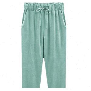 Womens Pants Plus Size 6XL 7xl 8xl Women Summer breeches Loose Calf Length Female Cotton Linen Casual Elastic Waist Harem