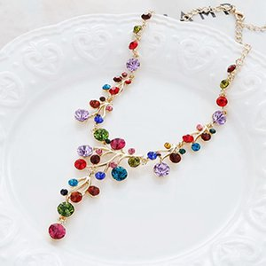 Creative Personality Necklace Multicolor Austrian Crystal Clavicle Charm For Women Famous Jewelry Chains