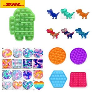 3-7 days delivery finger toy Pop It Push Bubble Board Game Sensory simple dimple Stress Reliever puzzle silicone toys Rainbow Tie-dye color