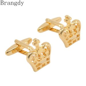 Cuff Link And Tie Clip Sets Brangdy Crown Gold Cufflinks Hollow Men's French Shirt Button