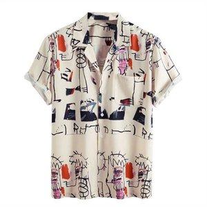 Le camicie da uomo a manica corta da uomo hawaiano per uomo casual casual slim fit beach blouse top chemise homme 210608
