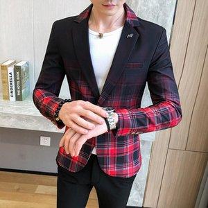 Dress Casual Wedding Suit Men Blazer 4XL 2021 Spring Fashion Man's Plaid Coat Slim Fit Blazers Jackets Mens Men's Suits &