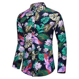 Мужские повседневные рубашки Kancoold Рубашка Мужские Летние Напечатанные Кнопка с длинным рукавом Отворотный Пляжный Гавайский Футболка Топ Блуза Camisa Masculina Jun22