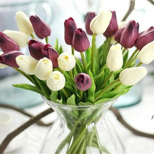 White Tulips Artificial Flowers PU Real Touch Bouquet Fake Flower for Wedding Decoration Home Garen Decor AHD6111