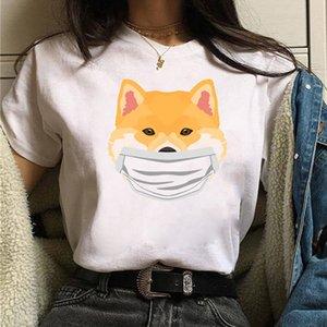 animal Funny Face T-shirt mask cute Shiba Inu shirt Women Ulzzang T-shirt Female teas Harajuku tea shirt Cartoon nice tops T-Shi