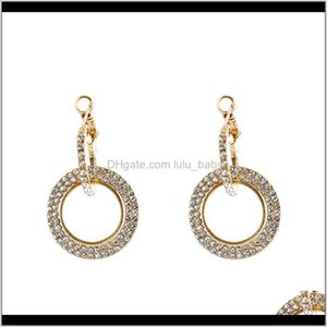 Hoop & Hie Jewelry Drop Delivery 2021 10Pair Fashion Rhinestone Glitter Circle Round Diamond Sier Rose Gold Stud Earrings For Women R-28 Eevb