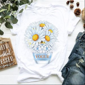 Women Clothes VOGUE T Shirt Daisy Perfume Bottle Sweet Print Short Sleeve Summer Female shirts