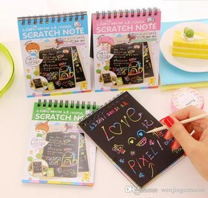 DIY Scratch Art Paper Notebook Note Drawing Stick Sketchbook Kids Party Gift Creative Imagination Development Toy Mix colors