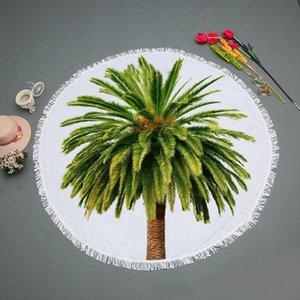 Green Coconut Tree Round Hotel Robes Bath Towel Soft Shower Fast Drying Yoga Mat Spa Blanket Fabric Comfortable Wear Beach Towel