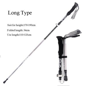 5 Knots Outdoor Aluminum Folding Ultra Light Telescopic Walking Supplies Shock Absorber Trekking Pole Walk Stick wmtYdO
