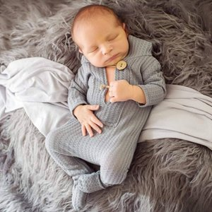 15824 Footed Newborn Romper Infant Baby Photography Prop Jammies Long Sleeve Hooded Knitted Rompers Climb Clothes