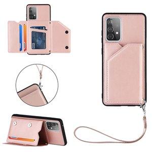 Кожа чувствует кожаные чехлы пакет кошельки для Samsung Galaxy S21 PLUS Ultra A02S A42 A32 4G A12 A72 A52 5G абонеростойкий держатель складки кредитной карты удостоверение личности карманная карманная карманная крышка