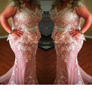 Plus Size V Neck Lace Appliques Formal Wear Dresses Crystals Beaded Cap Sleeves Mermaid Evening Gowns Peplum Arabic Prom Party Dress