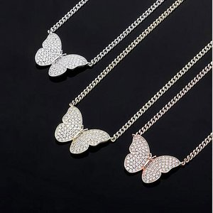 Men Women 14K Gold 3D Butterfly Pendant Necklaces Fashion Jewelry Gift with 5mm 21inch Cuban Chain Zirconia Bling Choker Necklace