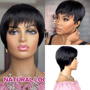 Полная плотность короткого боба парик с челкой пикси вырезать бразильские человеческие парики волос натуральный цвет Remy для чернокожих женщин