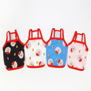 New Dog Clothes Summer Thin Red Hat Suspender Teddy Bear Minidog Pet Vest JRWY