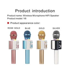 V6 Bluetooth Wireless Microphones Speaker Handheld Karaoke Mic Music Player Singing Recorder KTV Microphone PK Q7 Q9 WS-858