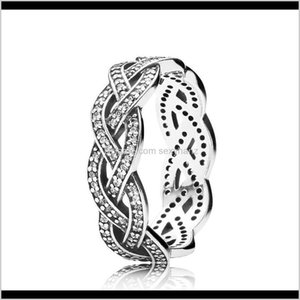 Drop Delivery 2021 Authentic Ale 925 Sterling Sier Sparkling Braid Band Ring Fashion Luxury Designer Jewelry Women Rings With Pandora Origina