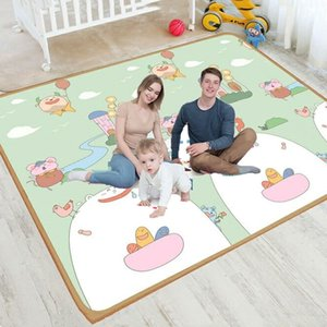 XPE Foldable Cartoon Play Mat Kid Rug Puzzle Infant Carpet Waterproof Early Education Gym Baby Crawling Pad Rug Developing Mat 210401