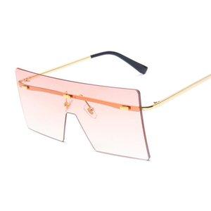 Diseñador de lujo Gafas de sol Vintage Cuadrado Mujeres Siamese Oversized Sun Gafas de sol para la marca Lente Océano sin montura MANTERAS BIG STUDES OCULOS DE SOL