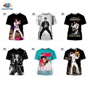 Sonspee Popüler Şarkıcı Elvis Presley Erkekler T-Shirt Kaya Kralı 3D Baskı Yaz Moda Kısa Mouwen T-Shirt Gay Kadın Spor Salonu Üst
