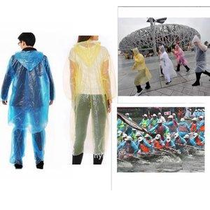 Disposable PE Raincoat Adult One-time Emergency Waterproof Hood Poncho Travel Camping Necessity Rain Coat Outdoor Rainwear 3000Pcs LLA706