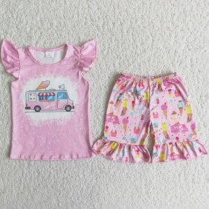 Kids Boutique Clothing Sets Summer Baby Girls Designer Clothes Ice Sucker Popsicle Outfits Flutter Sleeves Top Shirt Pink Shorts Children Toddler Girl Outfit RTS