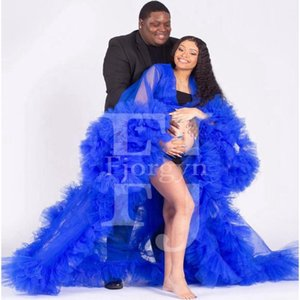 Chic Royal Blue See Thru Maternity Women Dress Draped Tulle Baby-shower Long Robe To Pography Vestido De Mulher 2021 Casual Dresses