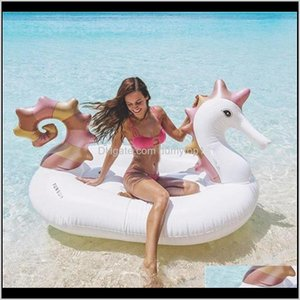 Floats Water Sports Outdoors Drop Delivery 2021 Hippocampi Design Huge Inflatable Tubes Swimming Ring For Sea Sun Bath Pegasus Floating Mat P