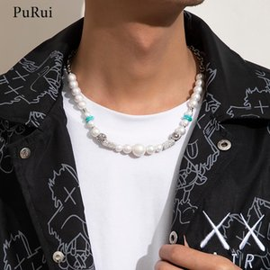 Chokers PuRui Bohemia Imitation Pearl Beads Choker Necklace For Women Fashion Summer Beaded Chain Necklaces Men 2021 Neck Jewelry Collar