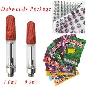 0.8ml TH205 Wood Tip Dabwoods Package Atomizers 1ml Silver Empty Vape Pen Cartridges Ceramice Carts Glass Tank Wax Vaporizer E Cigarette