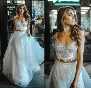 2021 Two Pieces Boho Wedding Dress Sequins Lace Appliques Spaghetti Shiny Beach Bohemian A-Line Bridal Gowns Lace-Up Back Tulle Marriage Dresses